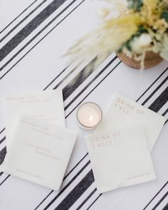 La Tavola Fine Linen Rental: Harbor Stripe White | Photography: Jana Williams, Venue & Catering: Ojai Valley Inn, Event Planning: Sterling Social, Florals: JL Designs, Paper Goods: Swell Press, Rentals: Found Rentals and Theoni Collection