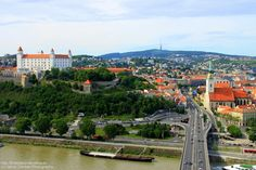 Panorama from #UFO outlook tower on #Bratislava castle, St. Martin's Cathedral and old town. More on http://bratislava-slovakia.eu/places/sightseeing/bratislava-castle
