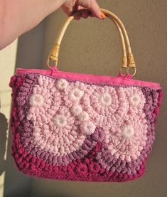 Hard candy a medium freeform crochet  bag by handmadestreet101