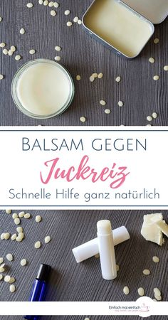 Balsam gegen Juckreiz A natural home remedy for itching through insect bites, sunburn, dry skin or allergies you can produce with just a few ingredients. The soothing DIY lotion nourishes the skin and thus promotes healing. E Cosmetics, Natural Cosmetics, Shampooing Diy, Sleek Make Up, Skin Care Masks, Diy Lotion, Insect Bites, Fragrance Parfum, Diy Fragrance