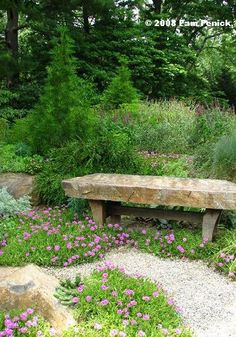 Really like the stone slab bench!