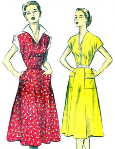 1950s Dress Pattern Advance 5784 Flared Skirt Shirtdress Winged Collar and Cuffs or Cap Sleeves Womens Vintage Sewing Pattern Bust 34