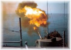 USS Bordelon DD 881 fires a salvo during Operation Sea Dragon - Tonkin Gulf, 1967