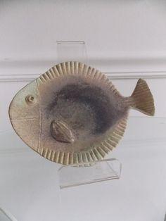 Signed Danish Modern ceramic fish dish/ Mid century art pottery fish plate/ vintage 1950s fish platter