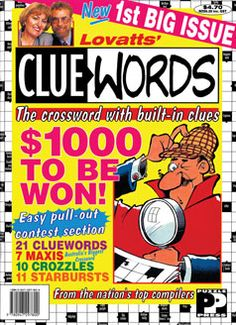 The first edition of the 'clue in square' puzzle book Cluewords. Published in June 1996.