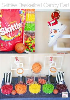 Skittles Basketball Party Candy Buffet