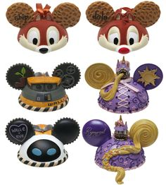 Mickey Mouse Christmas Ear Hat Ornaments - front and back of Chip & Dale, Wall-E & Eve, Rapunzel