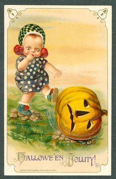 Vintage Embossed Winsch Halloween Postcard Little Girl Kicks A JOL
