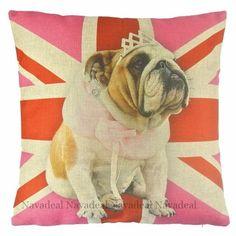 New Pink Bulldog Princess UK Flag Crown Art Decorative Pillow Case Cushion