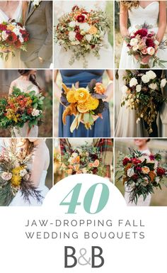 40 Jaw-Dropping Fall Wedding Bouquets, flower bouquet inspiration, fall weddings, fall flowers, jewel toned weddings, follow this board for more wedding advice from borrowedandblue.com!