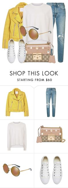 """""""My Style"""" by smartbuyglasses ❤ liked on Polyvore featuring MANGO, Levi's, Sweaty Betty, Gucci, Dolce&Gabbana, Converse and yellow"""