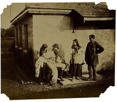 Lady Hawarden has arranged three of her children and the man who plays the fiddle (violin) in a tableau. Two of the children are barefoot and perhaps play the role of Gypsies. Photography was the most realistic medium available in the 1850s, but many photographers chose to use it for other purposes - such as tableau-making and storytelling.