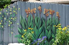 If I had a fence, I would so do this... maybe on the side of Rick's building.... hehe Painted Fences, Fence Painting, Graffiti Painting, Tole Painting, Fence Ideas, Fence Decorations, Garden Mural, Garden Fencing, Garden Landscaping