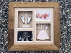 Absolutely stunning - 2 feet, belly button clip, 20 week scan photo, baby photo, 3D name and knitted hat that Ellie came home from hospital in = priceless x