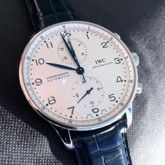 """The impeccable Portuguese from @iwcwatches in steel and blue gator strap. #WatchWednesday"""