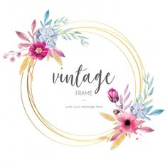 Best Ideas for vintage flowers diy products Watercolor Leaf, Watercolor Flowers, Floral Vintage, Vintage Flowers, Gold Flowers, Diy Flowers, Vintage Frames, Logo Fleur, Wedding Frames