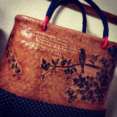 一閑張りサクラ#japanese#calligraphy#basket #dyeing#spring#sakura#bird#antique#kimono#kawii#handmade#一閑張り#サクラ#柿渋染め#ハンドメイド