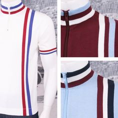 Art Gallery 60 s Retro Mod Zip Collar Racing Stripe S S Knit Cycling Top ( d06e4db2c