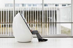 The Finnish-made Martela Koop chair designed by Karim Rashid, available from Offiscape (offiscape.com.au), provides contemporary, semi-priva...