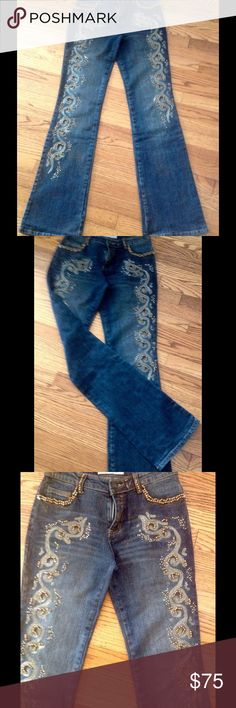 Jeans, gold embroidered and beaded Beautiful beaded and embroidered used low rise, bell bottoms jeans! ❤️ Compliments guaranteed!!!!🤗😉💐 I was wearing them only two times in Vegas! ❤️ Jeans is hand beaded and some of beads could be missing or loose  but it's not easily visible! 😊❤️I love these jeans but I don't think I'll ever again fit in it🤔🤗 Priced to sell! ❤️ Rosa&Rose Jeans Boot Cut