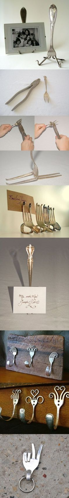 DIY Fork Art Scour up some old forks and use a pair of pliers and elbow grease to form them into whatever shape you like! Here's some inspiration: http://doitandhow.com/category/recycle-it/#
