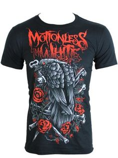 Motionless In White 'Crow and Bones' T-Shirt  £13.99 (grindstore.com - SALE)  http://www.grindstore.com/products/Motionless-In-White-Crow-and-Bones-Mens-Black-T-Shirt_32867.html#