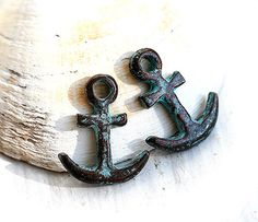Anchor+charm+nautical+green+patina+on+copper+Greek+by+MayaHoney,+$2.60