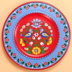 Wooden Polish Folk Plate - Birds