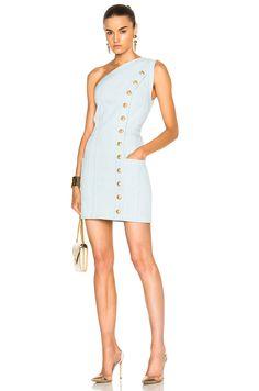 BALMAIN One Shoulder Denim Mini Dress in Light Blue | FWRD
