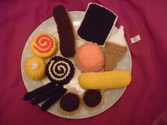 13 Hand Knitted Cakes & biscuits  childs play food     (no8)