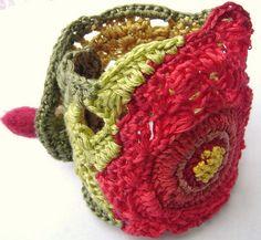 TROPICAL DREAM Red Hibiscus SUPER SOFT COTTON Freeform Crochet Cuff Bracelet Botanical Collection by anadiazarte, via Flickr
