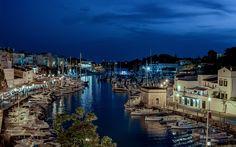 Lataa kuva Menorca, saari, bay, illalla, valkoinen jahdit, Välimerelle, Espanja