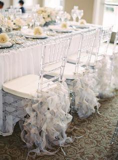 Silver tulle chair ruffles. Grand Soirees.