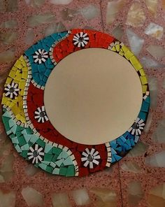 Espejos con marco decorados espejo vidrios de colores for Mosaicos para espejos