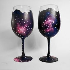 hand painted wine glasses-Set of design-Outer Space-Galaxy-wine glass set