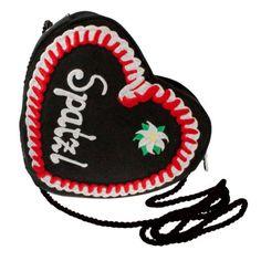 Alpenflüstern Herz-Trachtentasche rotes Lebkuchenherz Spatzl (schwarz) - süße Trachten-Handtasche für Dirndl-Schürze, Spatzltasche, Herztasche, Dirndltasche, Damen Herz-Tasche in Herzform fürs Dirndl und Oktoberfest