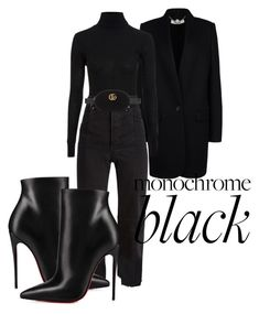 """""""Last Minute Errand"""" by roxysgotmoxy on Polyvore featuring STELLA McCARTNEY, Topshop, Vetements, Gucci, Christian Louboutin and allblackoutfit"""