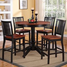 @Overstock - This set from the Kendall collection features unique, charming country influences, inspired by Farmhouse design with a modern appeal. This attractive set is available in dark cherry and antique black two-tone finishes.http://www.overstock.com/Home-Garden/Kendall-5-Piece-Counter-Height-Dining-Set/7295831/product.html?CID=214117 $559.79