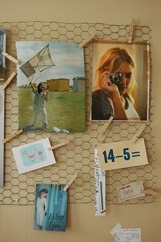 Chicken wire + clothes pins = pinboard. Or...use the same idea to hang oddly-shaped pieces of art that you can't find a frame for. Maybe a huge piece for a hall or something and use it like gallery wall. Hmm...