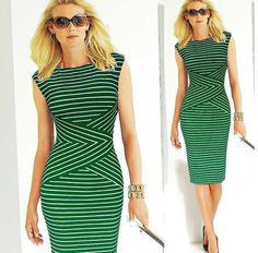 Scoop Bodycon Sleeveless Striped Fashion Pencil Dress