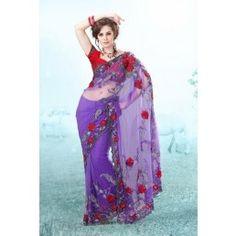 Violet color Net saree