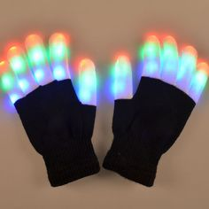 Fashion Cool LED Rave Flashing Gloves Glow 7 Mode Light Up Finger Lighting Black | eBay