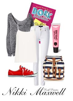 """""""Nikki Maxwell--Dork Diaries"""" by twixryleigh ❤ liked on Polyvore featuring Juicy Couture, Equipment, Converse, Monsoon and Monki"""