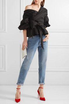 Johanna Ortiz - Santa Rosa Wrap-effect Cotton-blend Poplin Top - Black - US6