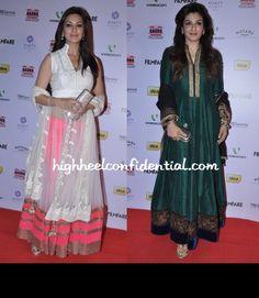 Sonali Bendre and Raveena Tandon at Filmfare's Nominations Bash 2013 in Manish Malhotra