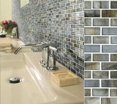 Shaw's Glass Expressions tiles are like jewelry that sets everything off, in color Seaglass.