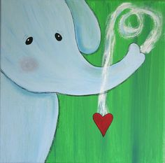 nursery art elephant painting blue green circus zoo jungle theme NURSERY ART Children's room décor kids room baby shower gift