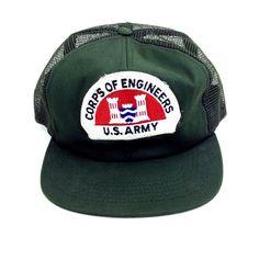 3c3b2b6c40719 Vintage U.S. Army Corps Of Engineers Trucker Hat Snapback Green Mesh Patch  Cap