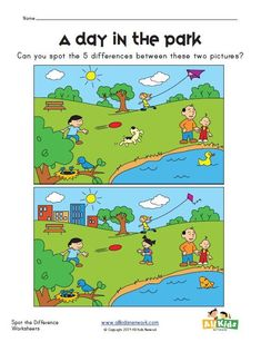 spot the difference park worksheet Spot The Difference Kids, Spot The Difference Printable, Find The Difference Pictures, English Activities, Learning Activities, Kids Learning, Activities For Kids, Kids English, English Lessons