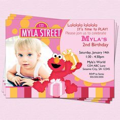 Elmo Invitation Sesame Street Pink Birthday Printable Party on Etsy, $14.00